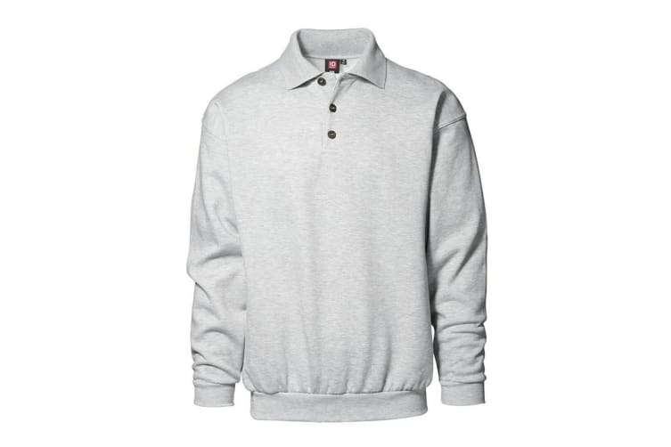 ID Mens Classic Loose Fitting Polo Neck Sweatshirt/Jumper (Grey melange) (XL)