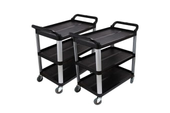 SOGA 2x 3 Tier Food Trolley Food Waste Cart Food Utility Mechanic Kitchen Large
