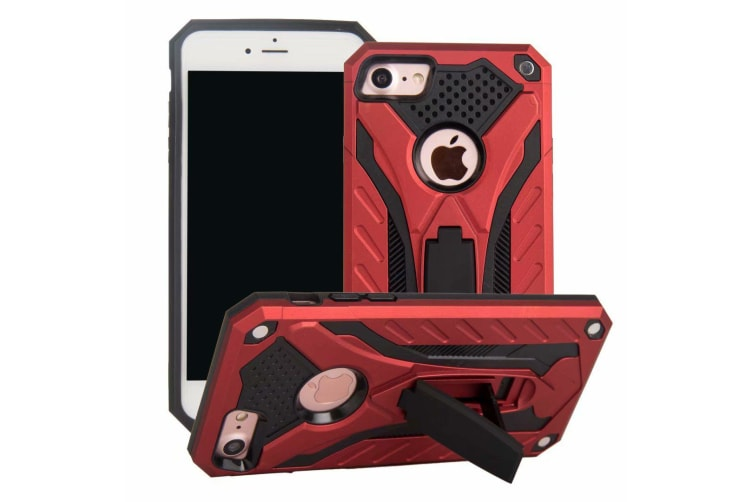 For iPhone 8 & 7 Case  Armour Strong Shockproof Tough Cover with Kickstand  Red