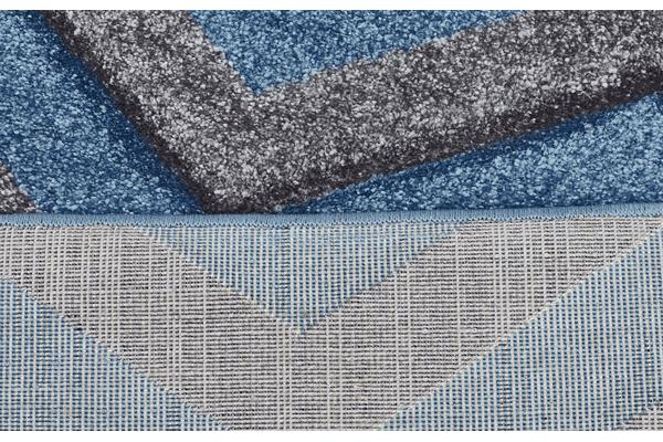 Modern Chevron Design Rug Blue Grey 170x120cm