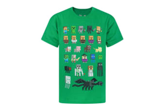 Minecraft Official Boys Sprites Characters T-Shirt (Green)