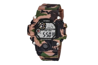 Fashion Electronic Watch Camouflage Sports Waterproof Student Watch Brown