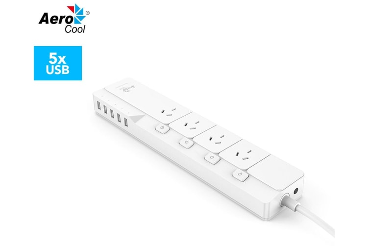 Aerocool ASA PowerStrip Powerboard w/4 Way AC Outlets & 5 USB Charger - White