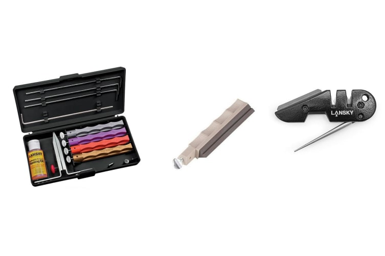 Lansky Deluxe Diamond Knife Sharpening System + Medium Serrated Hone LSMRT + Lansky Blademedic Pocket Sharpening Kit