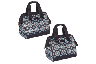 2x Sachi Thermal Insulated Picnic Lunch Meal Box Bag Carry Food Black Medallion