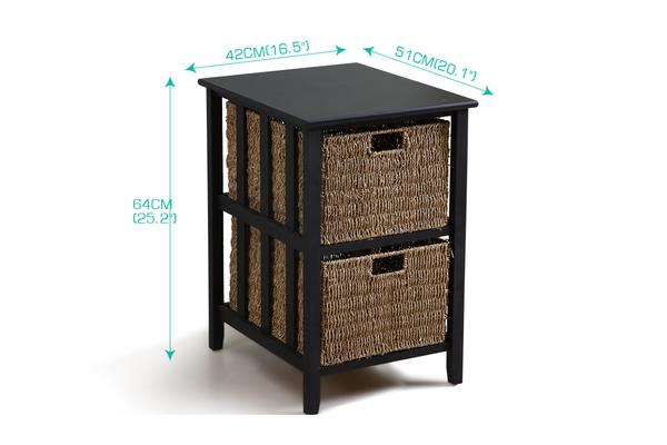 Bedside Storage Cabinet Wood Side Table With 2 Foldable Baskets
