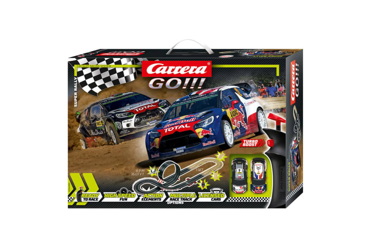 Carrera Go 1:43 4.9m WRC Super Rally Slot Car Racing Track Set Kids Toy 6y+ w/RC