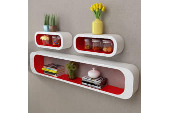 vidaXL 3 White-red MDF Floating Wall Display Shelf Cubes Book/DVD Storage