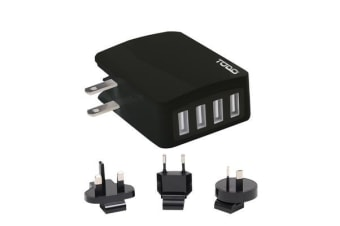TODO 4 Port Usb 2.4a Rapid Charge Universal Travel Charger - Black