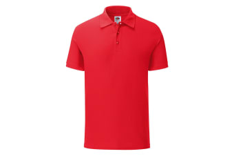 Fruit Of The Loom Mens Tailored Poly/Cotton Piqu Polo Shirt (Red) (M)