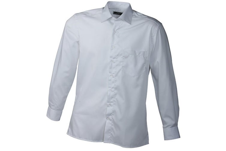 James and Nicholson Mens Long Sleeve Business Shirt (White) (S)