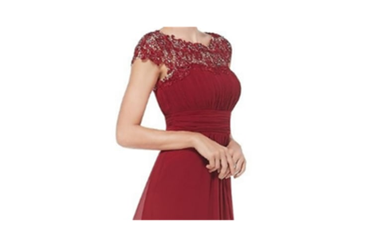 Womens Cap Sleeve Lace Neckline Ruched Bust Evening Gown Red S
