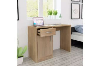 vidaXL Desk with Drawer and Cabinet Oak 100x40x73 cm