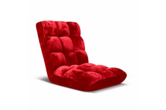 SOGA Floor Recliner Folding Lounge Sofa Futon Couch Folding Chair Cushion Red