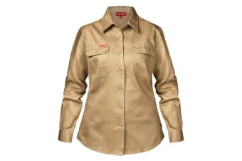 Hard Yakka Women's Cotton Drill Long Sleeve Shirt (Khaki)