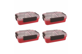 4PK Oasis 23cm Stainless Steel 2 Compartments Food Lunch Box Storage Watermelon