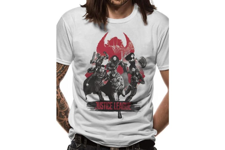 Justice League Unisex Adults Fight Design T-shirt (White) (S)