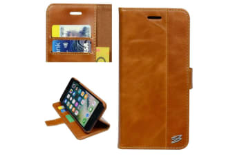 For iPhone 8 PLUS 7 PLUS Wallet Case Card Slots Genuine Cow Leather Cover Brown