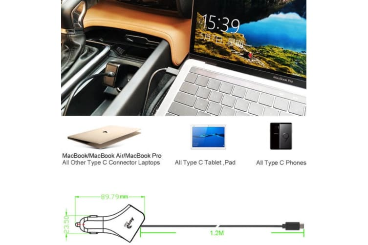 AeroCool Smart 45W 3A 2.25A USB Type-C Car Charger for Apple/Android/Laptop BLK