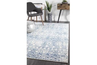 Amelia Blue, Navy & Bone Ivory Coastal Durable Rug 330x240cm