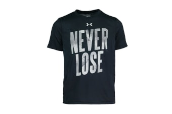 Under Armour Boys' UA Never Lose Graphic T-Shirt (Black/Grey, Size S)