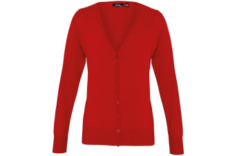 Premier Womens/Ladies Button Through Long Sleeve V-neck Knitted Cardigan (Red) (16)