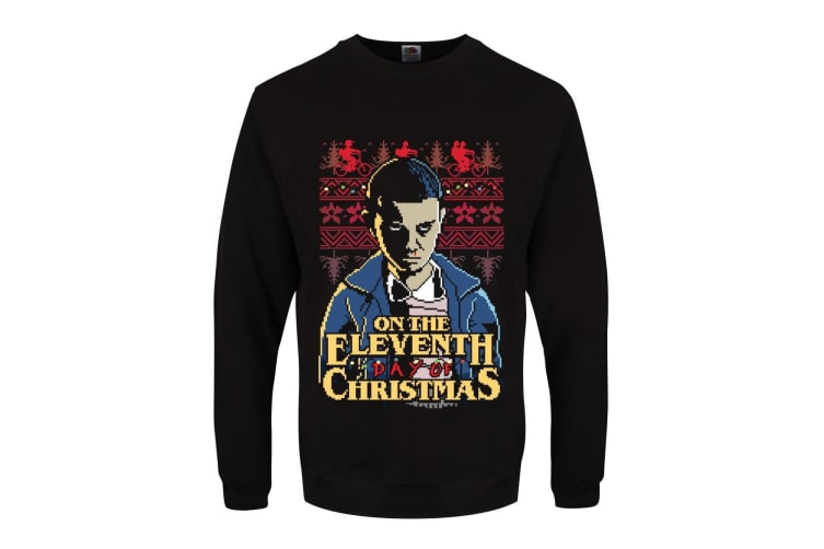 Grindstore Mens On The Eleventh Day Of Christmas Jumper (Black) (3XL)