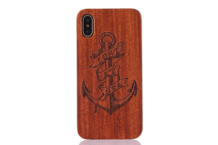 For iPhone XS X Back Case Anchor Lost Sea Rosewood Durable Shielding Cover