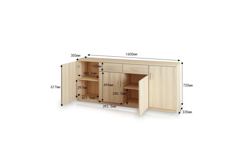 Wooden Side Cabinet Four Doors Two Drawers for Tools Buffet Tableware