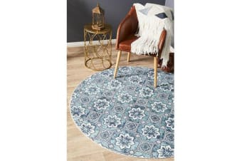 Sky Blue Hand Braided Cotton Blooming Flat Woven Rug - 150X150CM