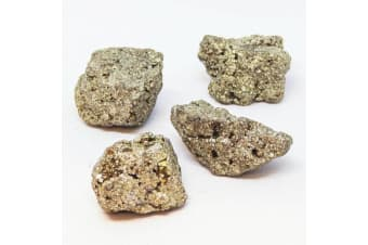 4 Natural Fool's Gold Stones Iron Pyrite Crystal Stone Specimen Nugget Mineral