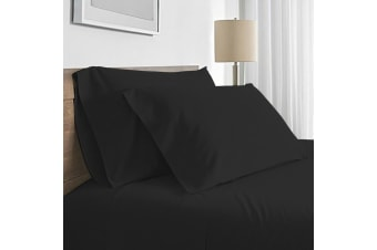 Valeria 1000TC Ultra Soft Super King Bed Sheet Set - Black