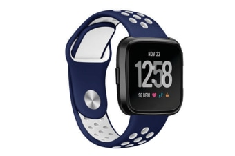 Silicone Sport Band With Ventilation Holes Replacement Straps For Fitbit Versa Smartwatch Blue White
