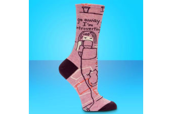 Go Away I`m Introverting Womens Comfy Crew Socks | BlueQ