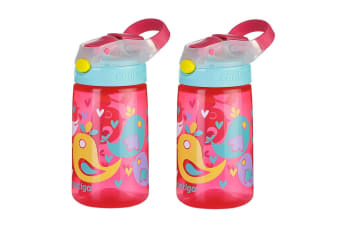 2PK Contigo Gizmo Flip Autospout 420ml Kids Water Bottle Spill Leak Proof Birds