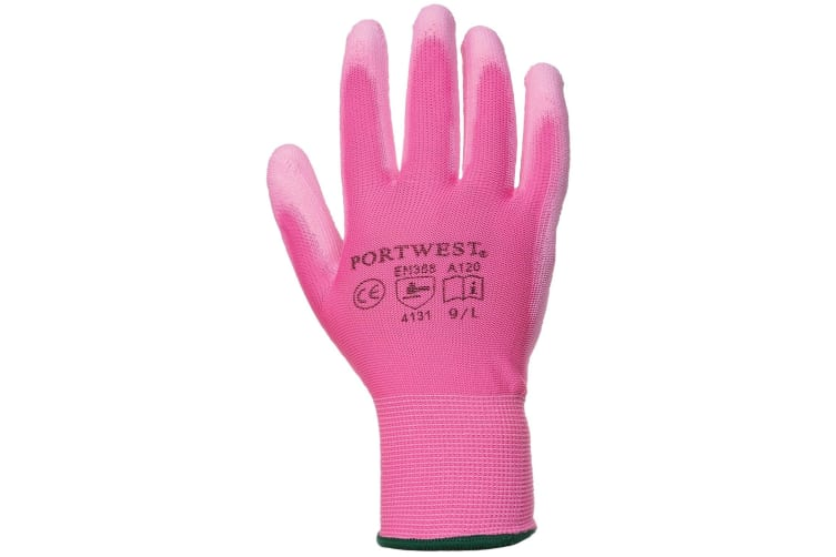 Portwest PU Palm Coated Gloves (A120) / Workwear (Pack of 2) (Pink) (L)