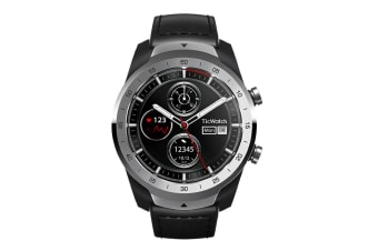 Ticwatch Pro Bluetooth Smart Watch IP68 Layered Display Wear OS by Google - Liquid Metal Silver