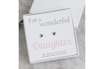 Daughter Heart Sterling Silver Stud Earrings (Silver) (One Size)