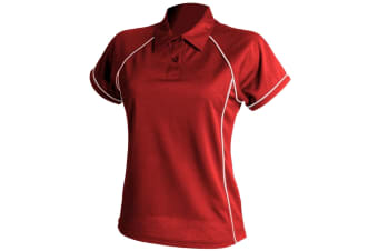 Finden & Hales Womens Coolplus Piped Sports Polo Shirt (Red/White) (M)