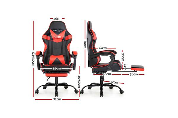 Artiss Gaming Office Chairs Computer Seating Racing Recliner Racer Footrest Red