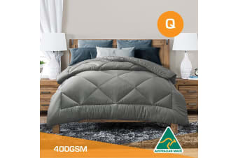 Queen Size Aus Made All Season Soft Bamboo Blend Quilt Grey Cover