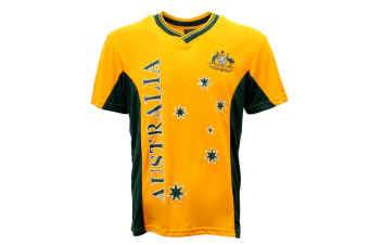 Adult Mens Sports Soccer Football Rugby Jersey Top T Shirt Australia Souvenir A -Gold