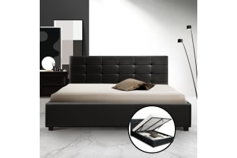 Artiss Queen Size Gas Lift Bed Frame Base With Storage Mattress Leather