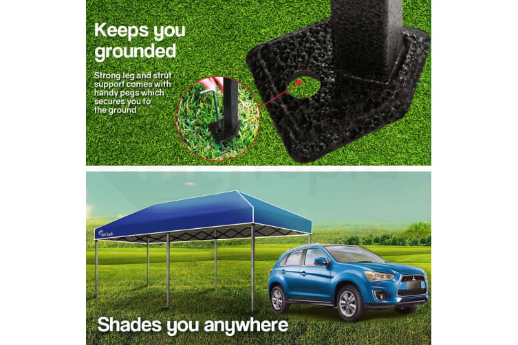 Red Track 3x6m Folding Gazebo Shade Outdoor Navy Blue Foldable Marquee Pop-Up