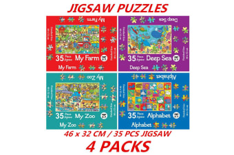 4 Packs 35Pcs Kids Jigsaw Puzzle Farm Sea Zoo Alphabet Children Book Play Toy 46x32cm