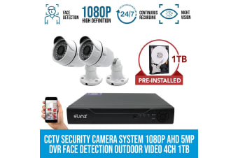 Elinz 2x CCTV Security Camera System 1080P AHD 5MP DVR Face Detection Outdoor Video 4CH 1TB HDD