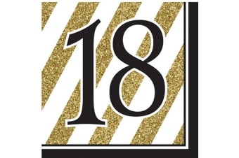 Creative Converting Black And Gold Milestone Napkins (Pack Of 16) (Black/Gold)