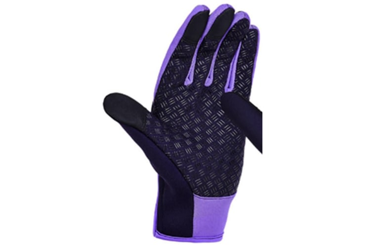 Trendy Outdoor Non-Slip Touch Screen Camping Sports Gloves Purple L