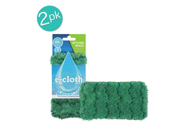 2x E-Cloth Kitchen Whizz Dishwashing Surface Cleaning Scrubbing Cloth Cleaner