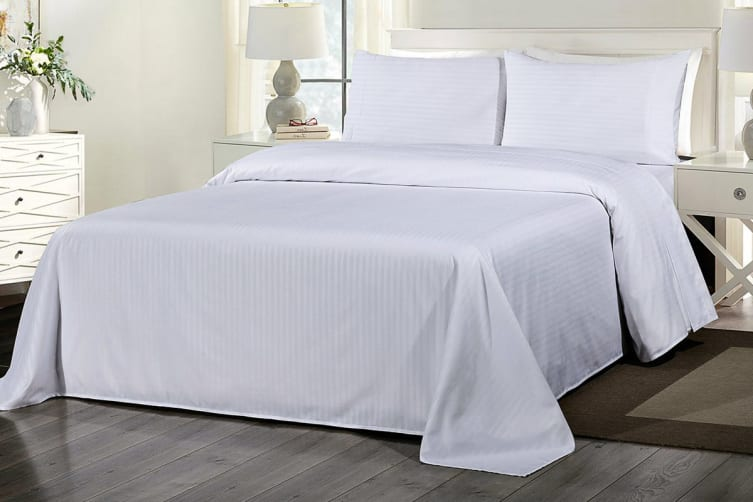 Royal Comfort 1000TC Blended Bamboo Bed Sheet Set with Stripes (Queen, White)